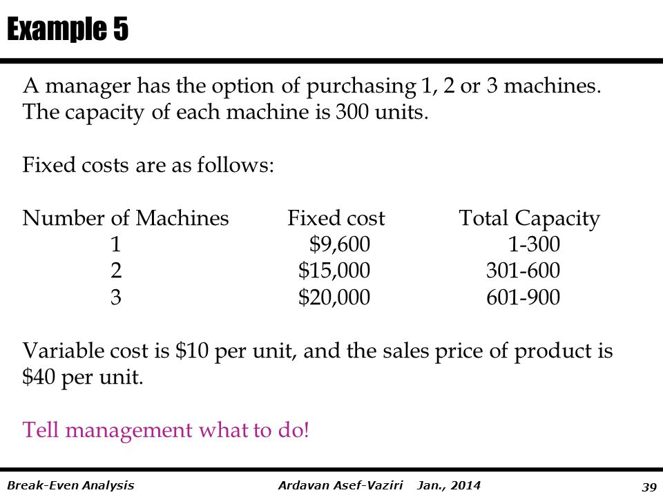 Example 5 A manager has the option of purchasing 1, 2 or 3 machines.