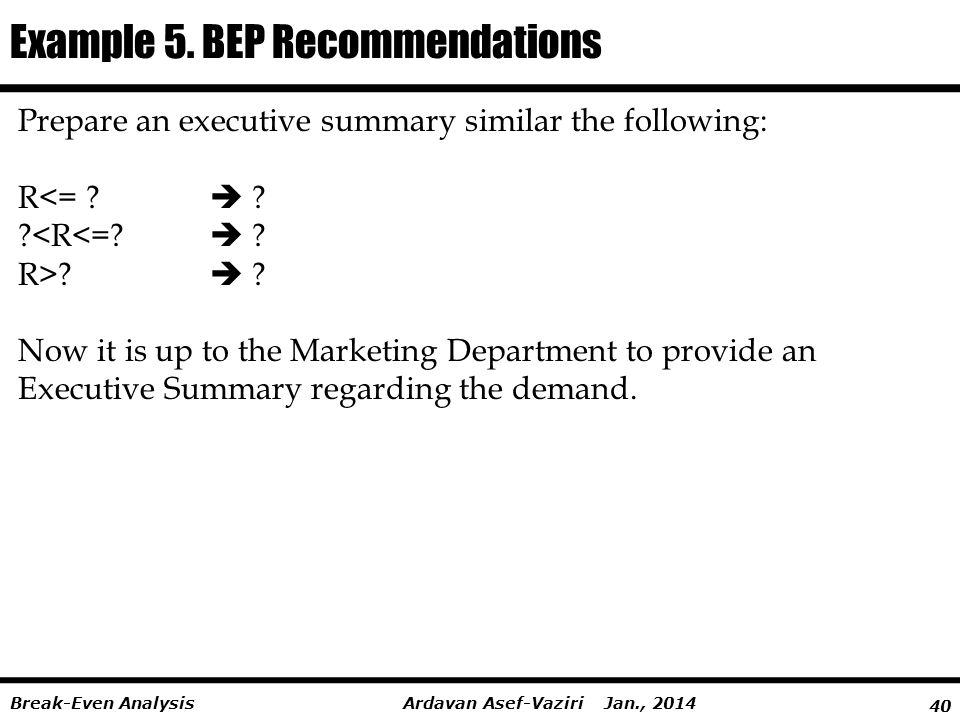 Example 5. BEP Recommendations