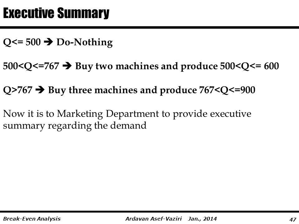Executive Summary Q<= 500  Do-Nothing