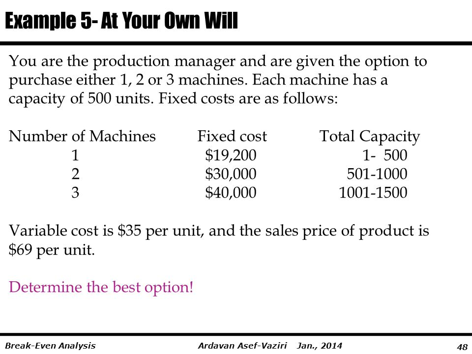 Example 5- At Your Own Will