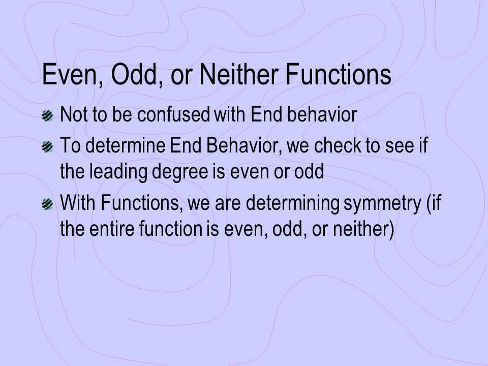 Even, Odd, or Neither Functions