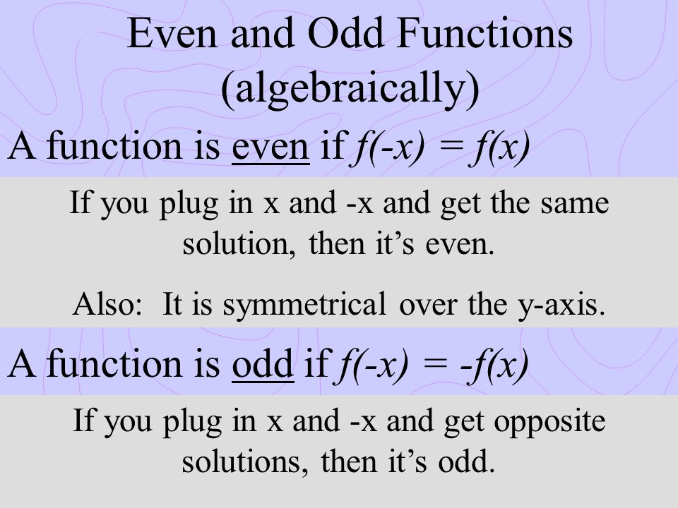 Even and Odd Functions (algebraically)