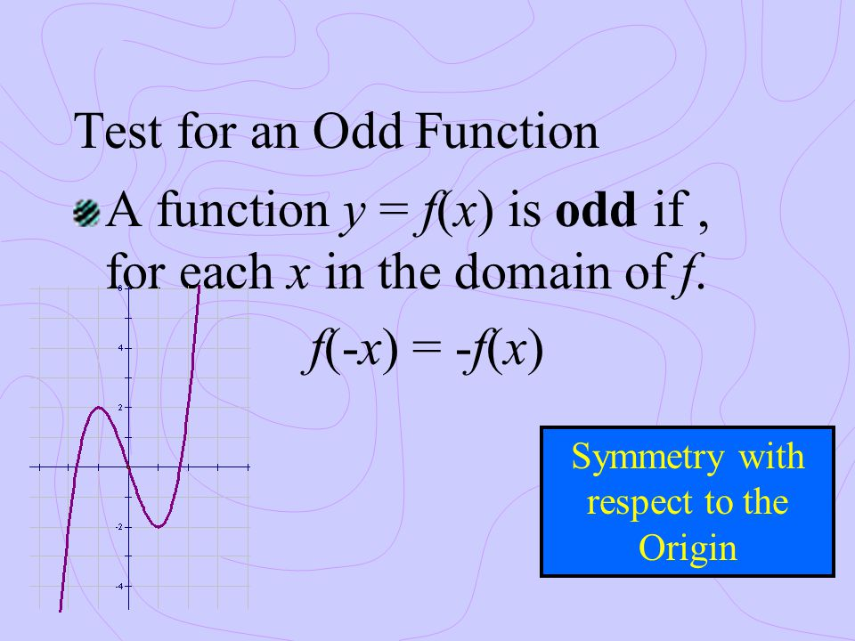 Test for an Odd Function