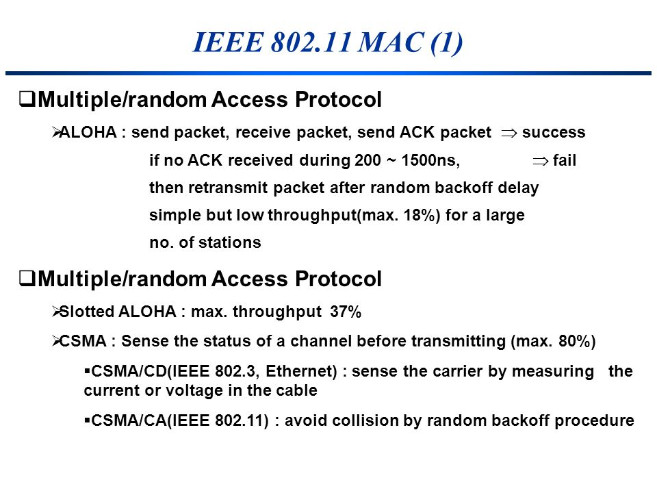 IEEE 802.11 MAC (1) Multiple/random Access Protocol