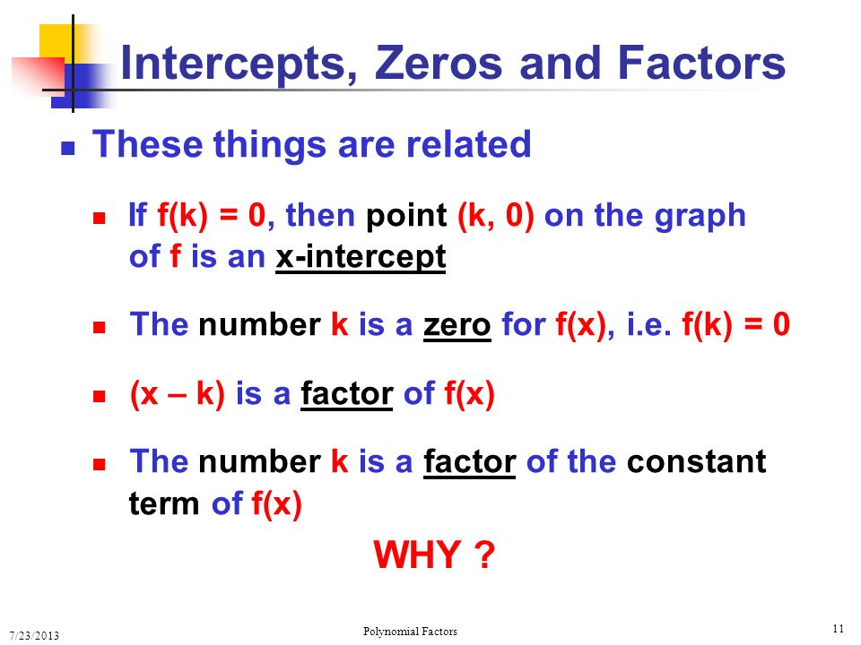 Intercepts, Zeros and Factors