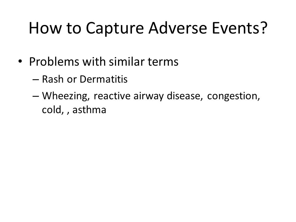 How to Capture Adverse Events