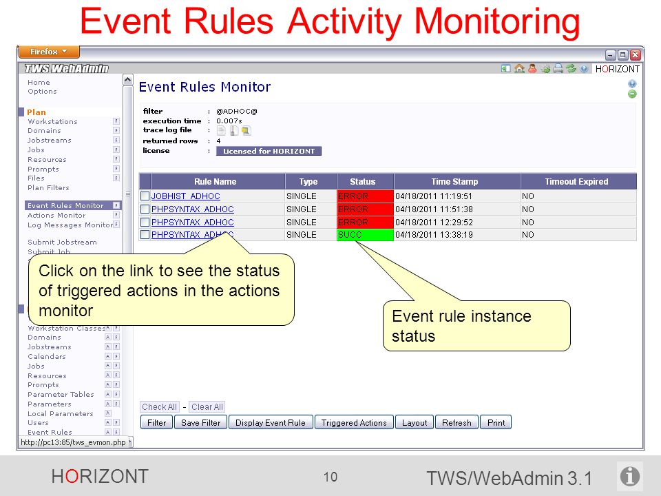 Event Rules Activity Monitoring