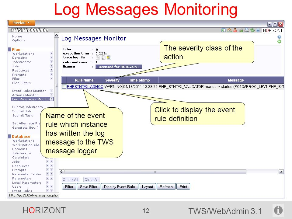 Log Messages Monitoring