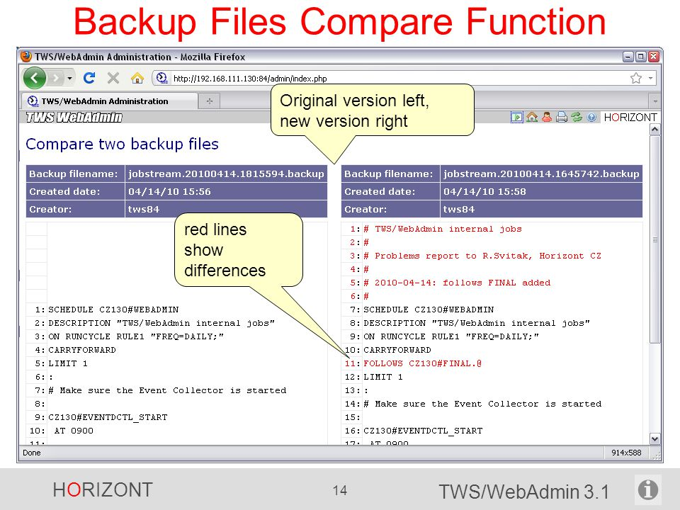 Backup Files Compare Function