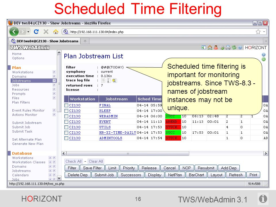 Scheduled Time Filtering