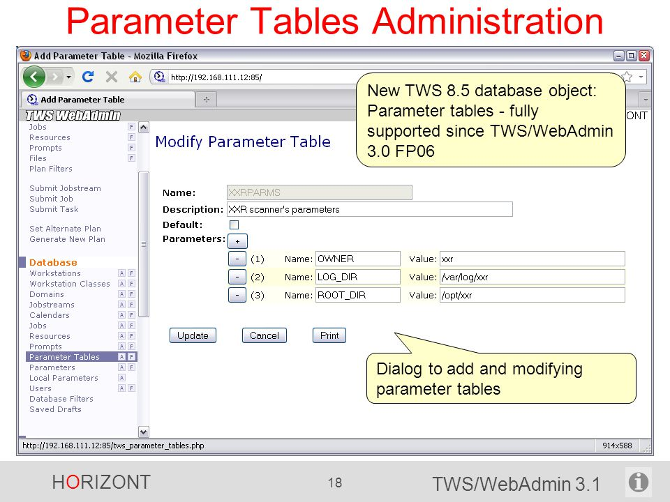 Parameter Tables Administration