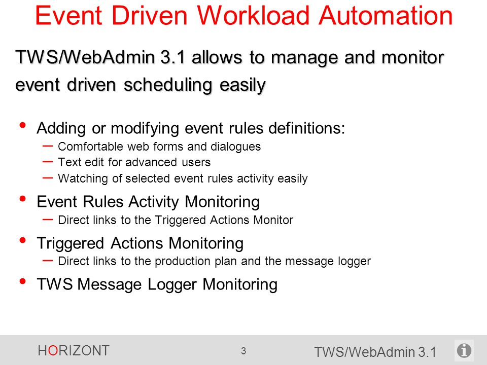 Event Driven Workload Automation