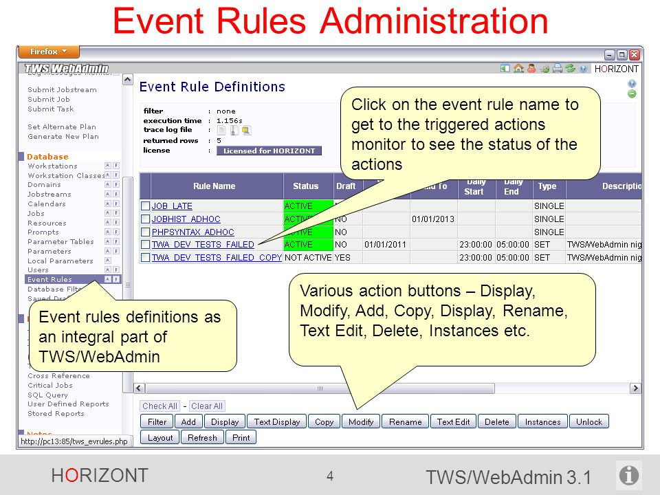 Event Rules Administration