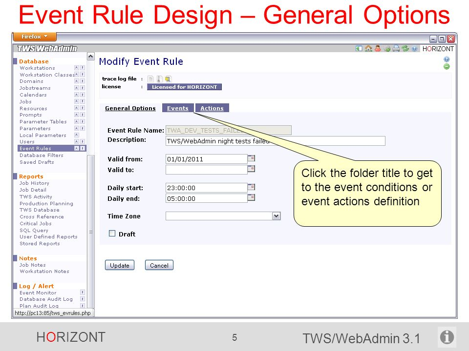 Event Rule Design – General Options