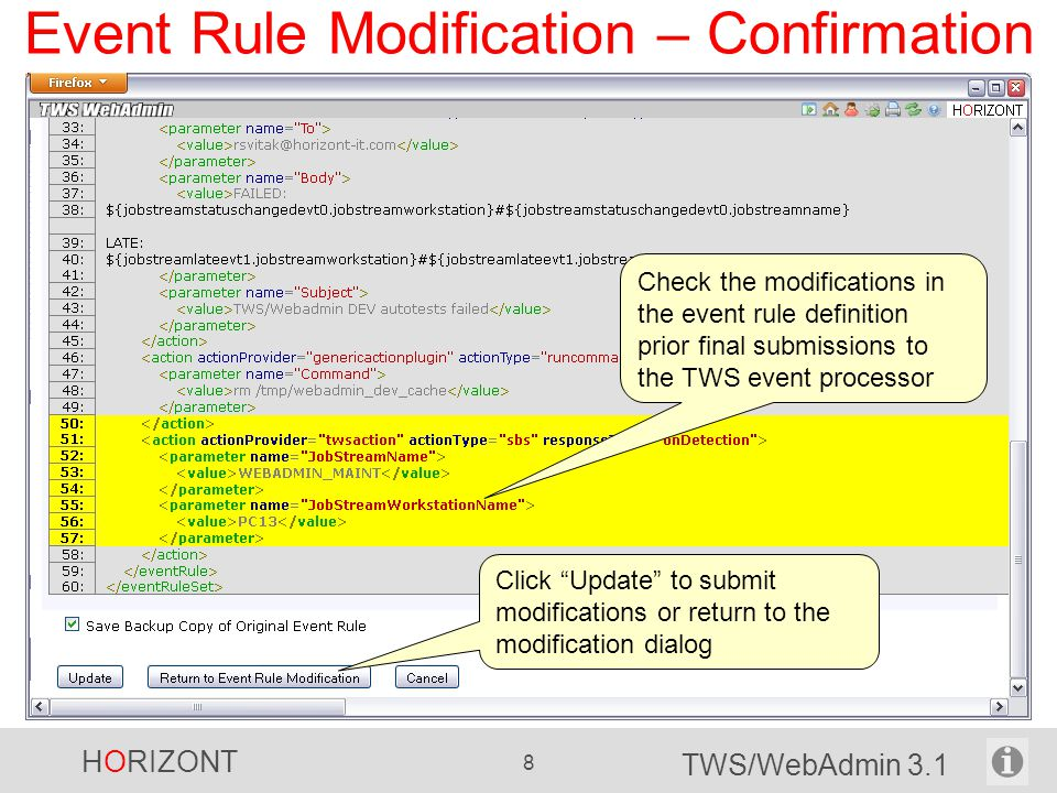 Event Rule Modification – Confirmation