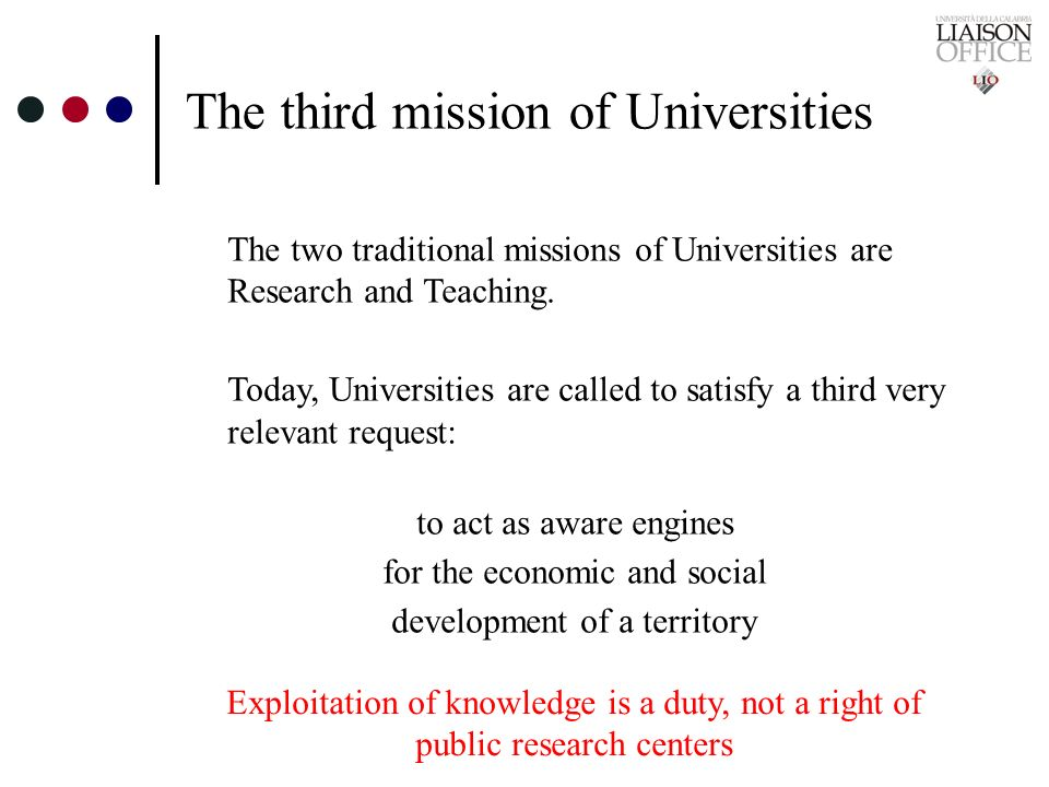 The third mission of Universities