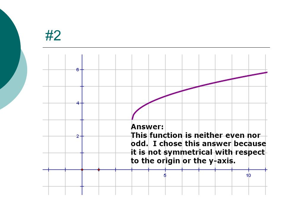 #2 Answer: This function is neither even nor odd.