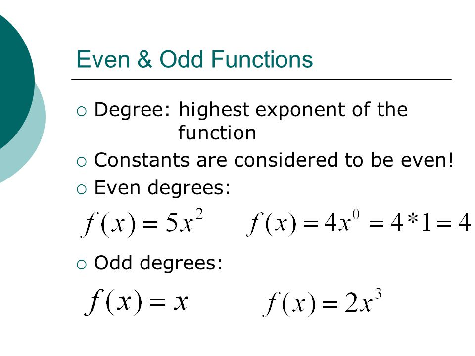 Even & Odd Functions Degree: highest exponent of the function