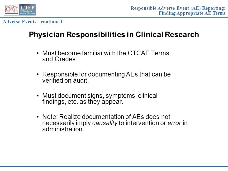 Physician Responsibilities in Clinical Research