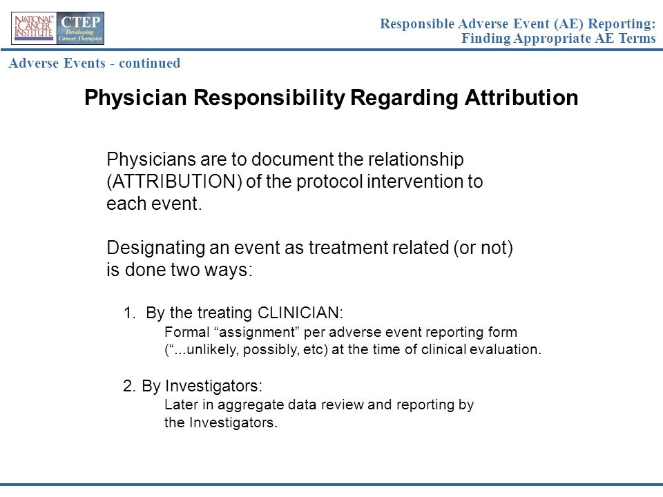 Physician Responsibility Regarding Attribution
