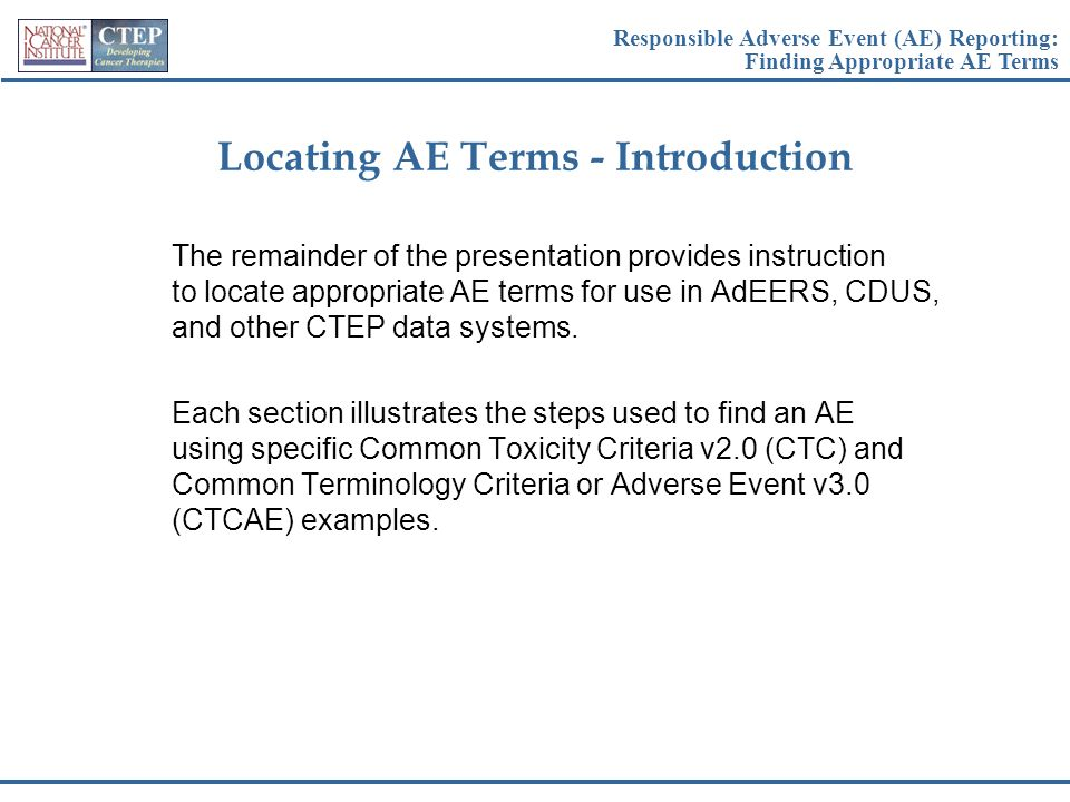 Locating AE Terms - Introduction