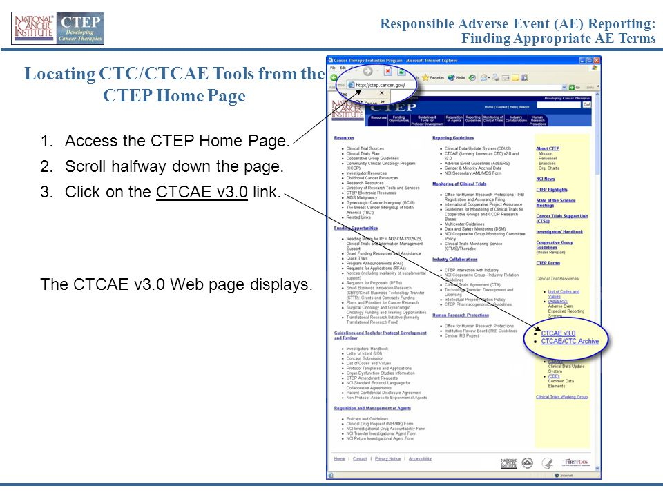 Locating CTC/CTCAE Tools from the CTEP Home Page
