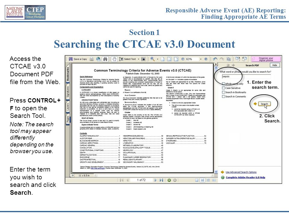 Searching the CTCAE v3.0 Document