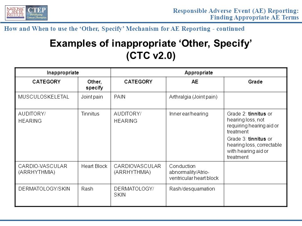 Examples of inappropriate 'Other, Specify' (CTC v2.0)
