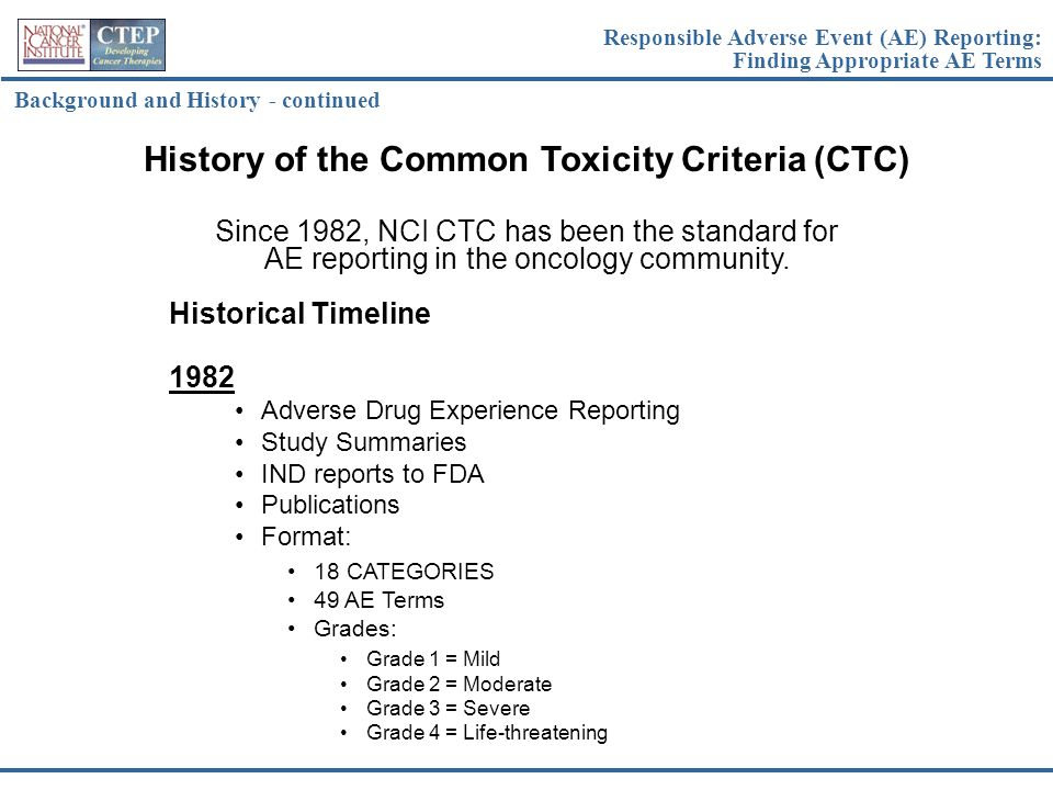 History of the Common Toxicity Criteria (CTC)
