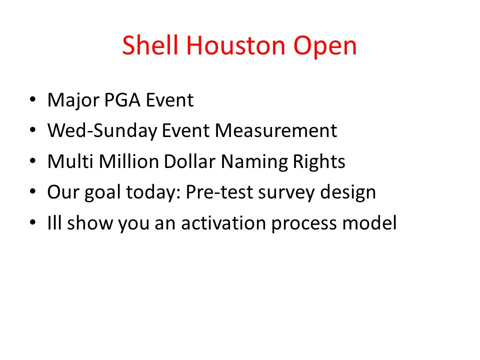 Shell Houston Open Major PGA Event Wed-Sunday Event Measurement