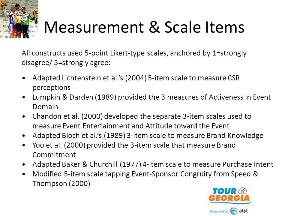 Measurement & Scale Items