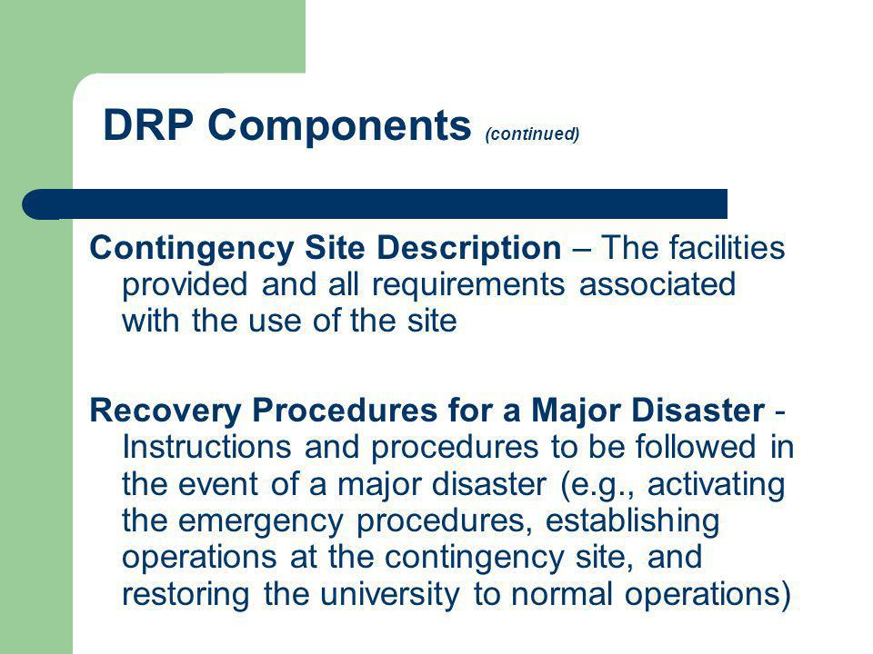 DRP Components (continued)
