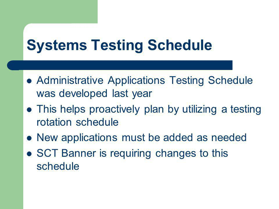 Systems Testing Schedule