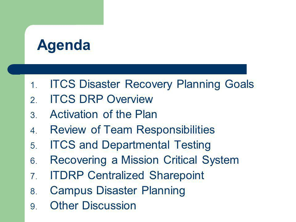 Agenda ITCS Disaster Recovery Planning Goals ITCS DRP Overview