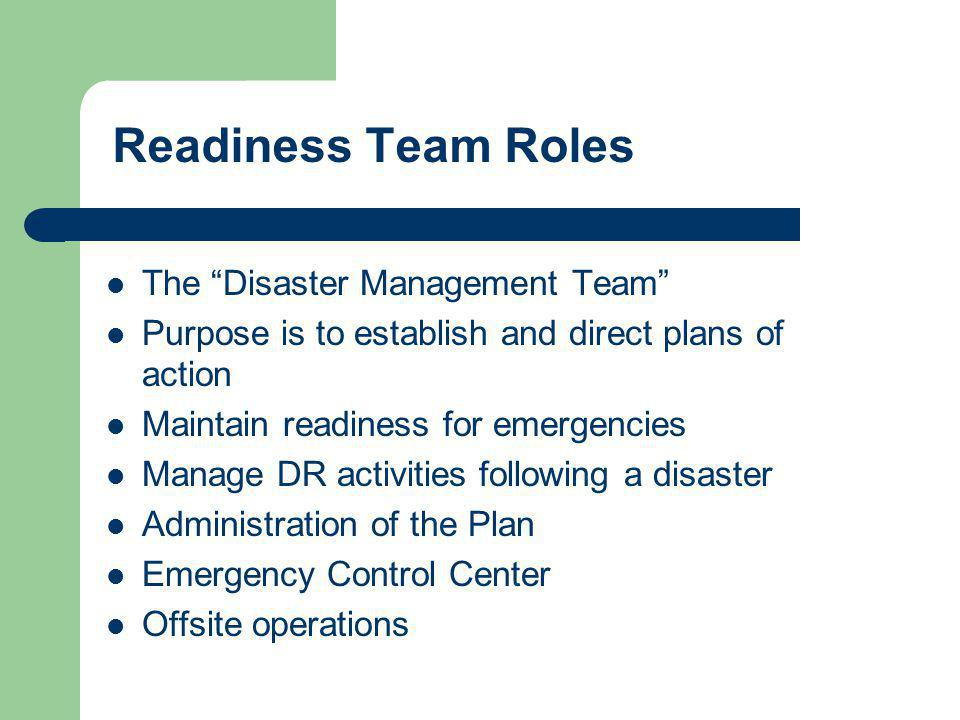 Readiness Team Roles The Disaster Management Team