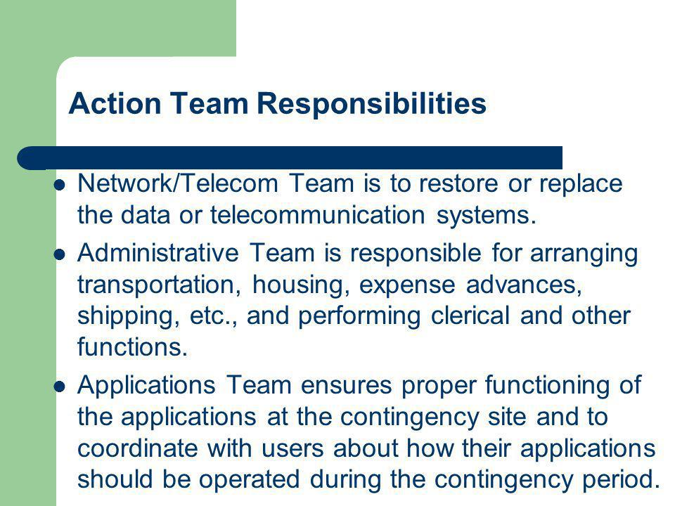 Action Team Responsibilities