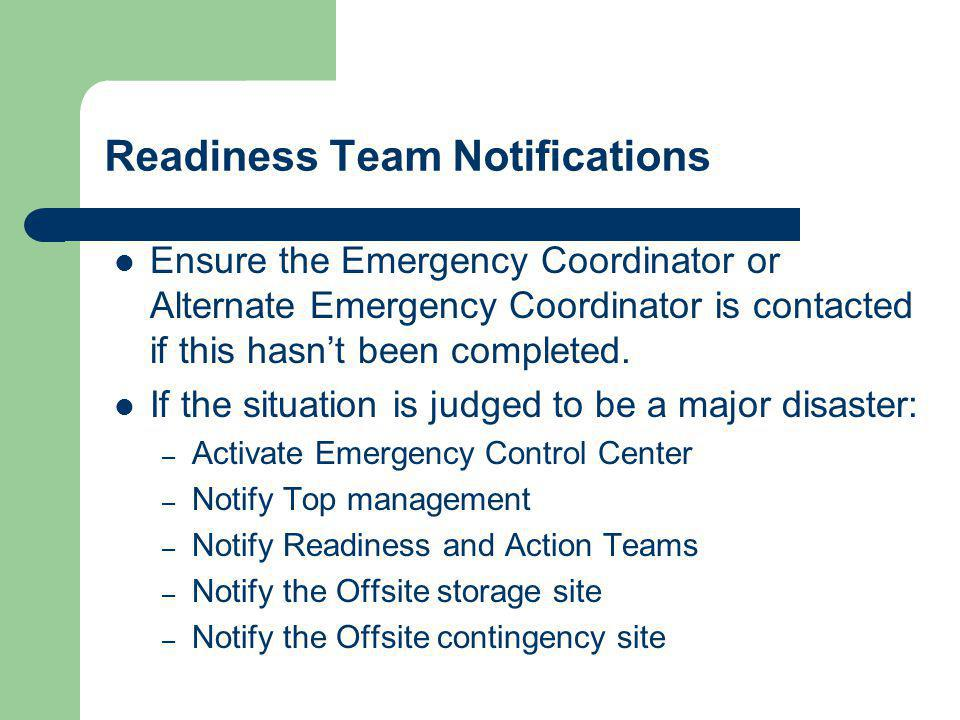Readiness Team Notifications
