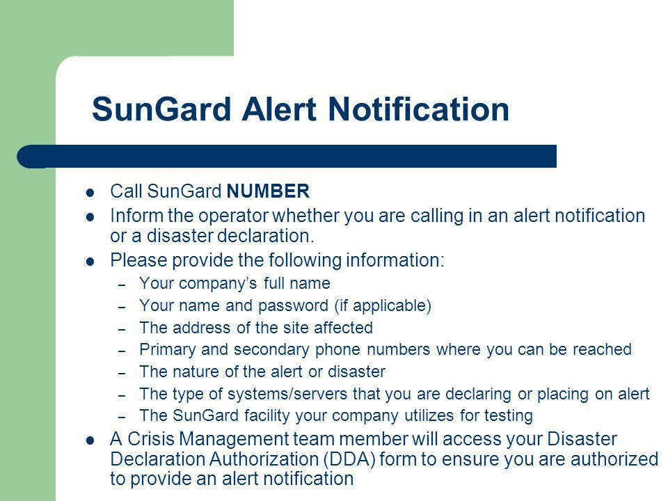 SunGard Alert Notification