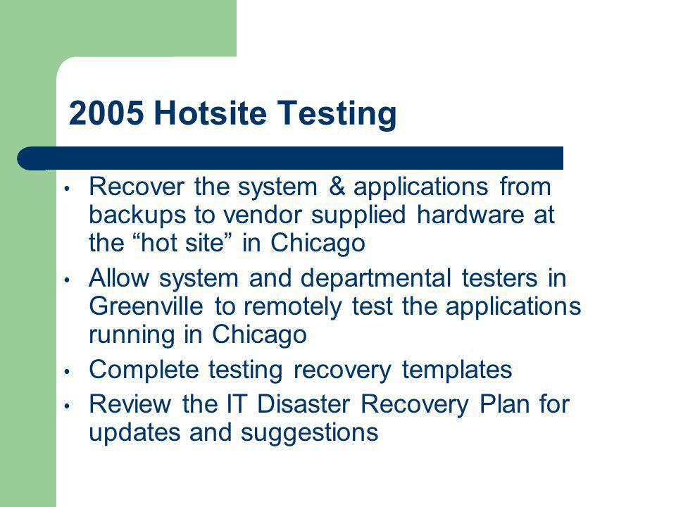 2005 Hotsite Testing Recover the system & applications from backups to vendor supplied hardware at the hot site in Chicago.