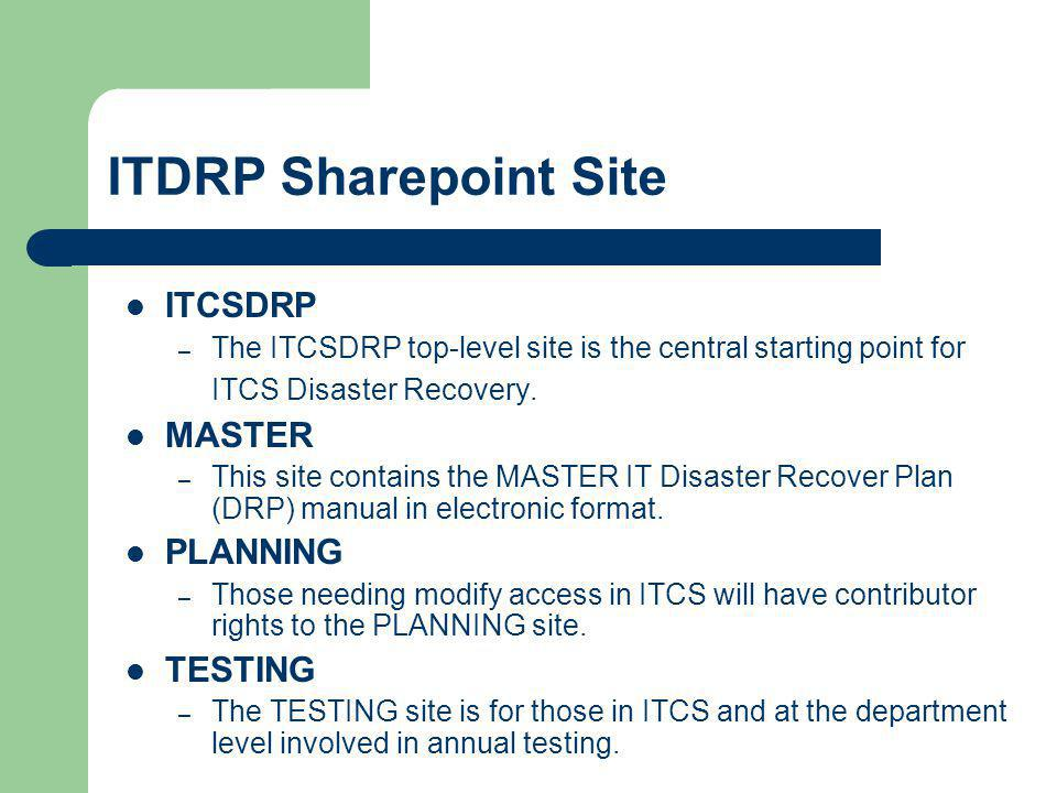 ITDRP Sharepoint Site ITCSDRP MASTER PLANNING TESTING