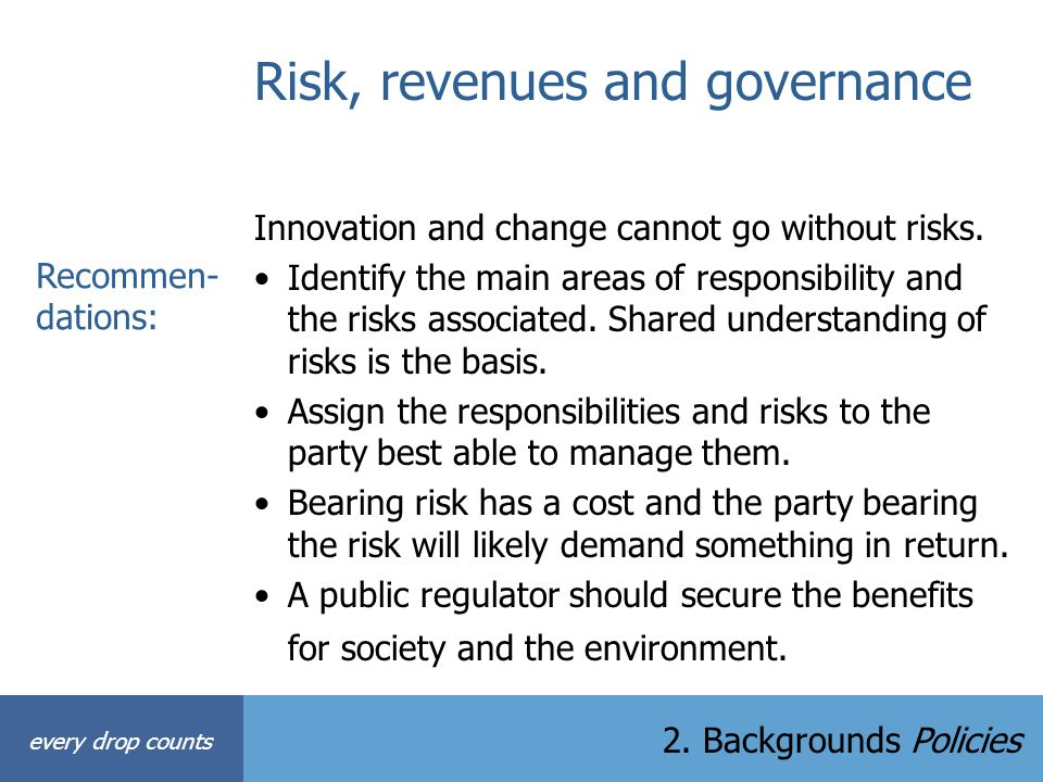 Risk, revenues and governance