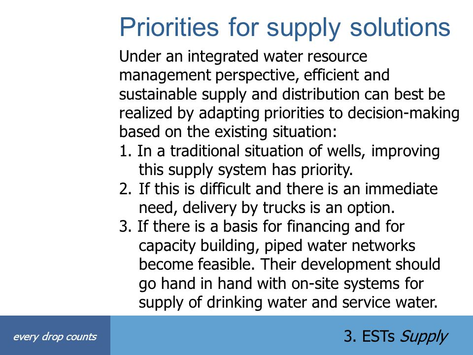 Priorities for supply solutions