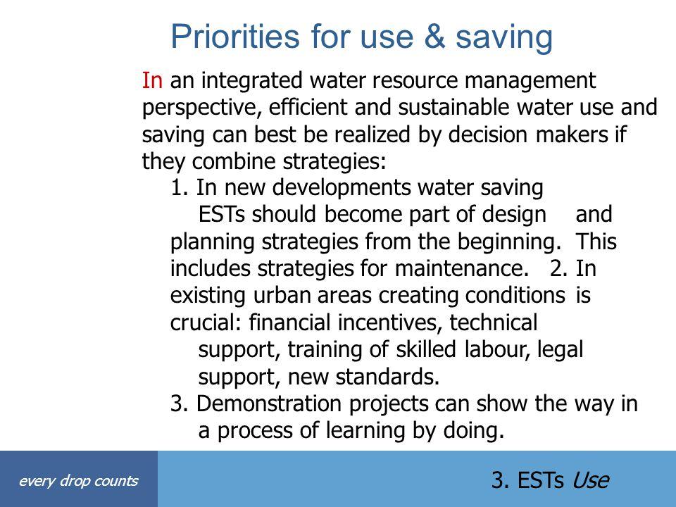 Priorities for use & saving