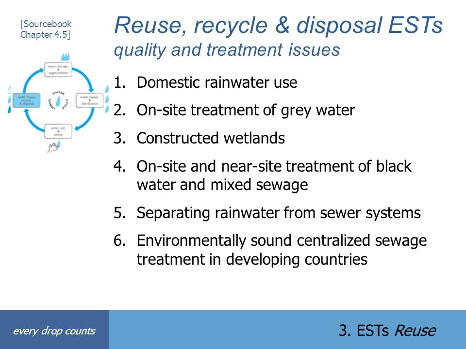 Reuse, recycle & disposal ESTs quality and treatment issues