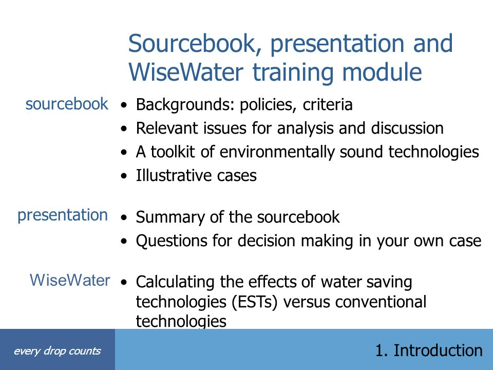 Sourcebook, presentation and WiseWater training module