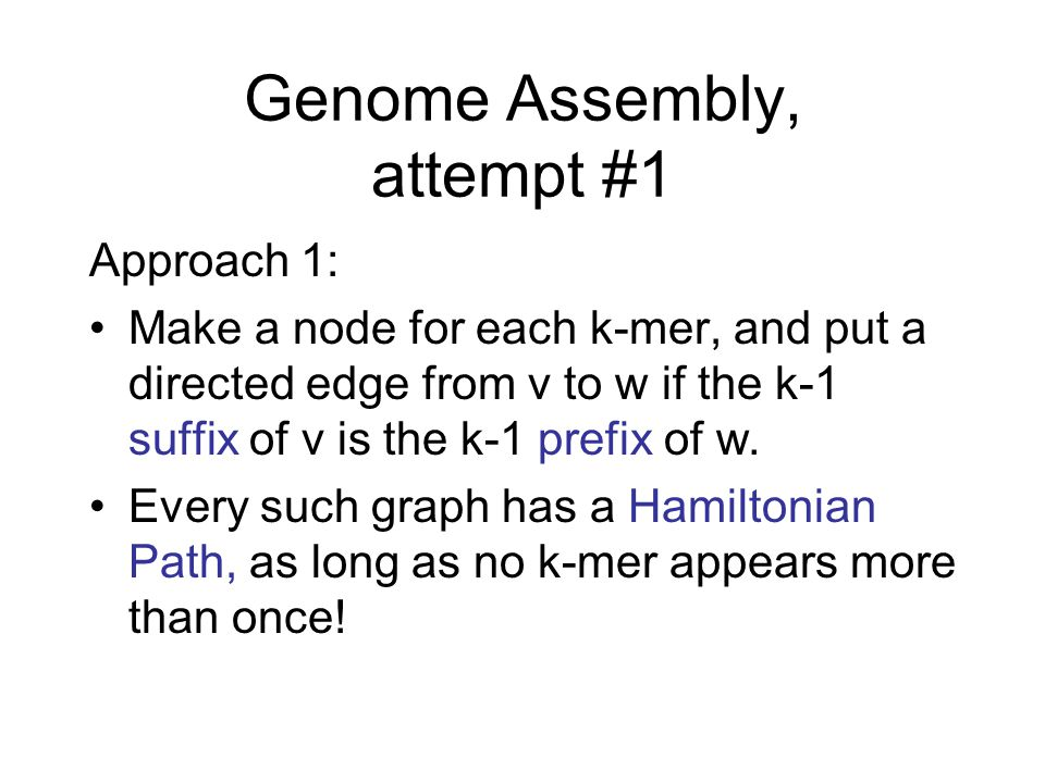 Genome Assembly, attempt #1