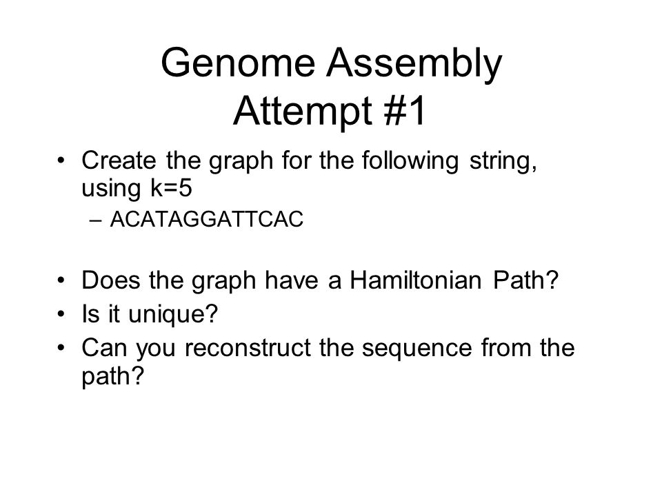 Genome Assembly Attempt #1