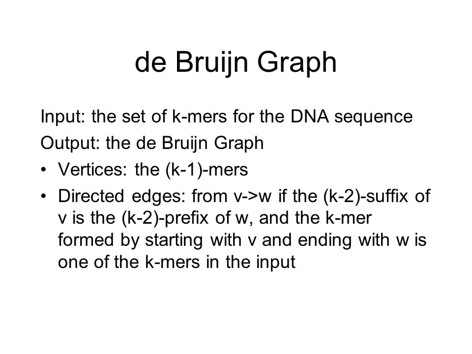de Bruijn Graph Input: the set of k-mers for the DNA sequence