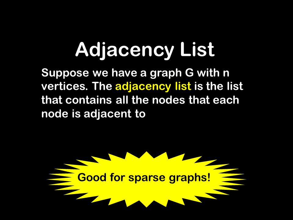 Adjacency List Suppose we have a graph G with n vertices. The adjacency list is the list that contains all the nodes that each node is adjacent to.