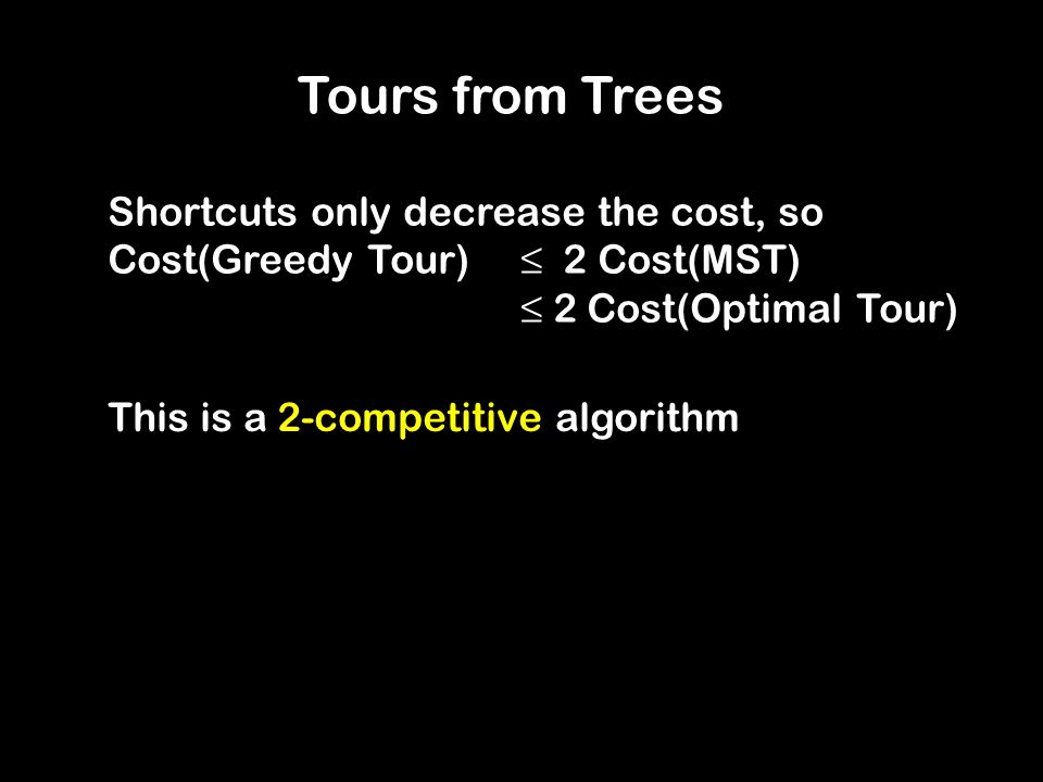 Tours from Trees Shortcuts only decrease the cost, so